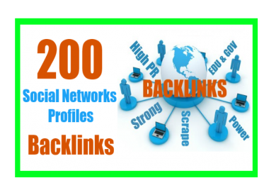 Get You 200 Social Networks Profiles Backlinks