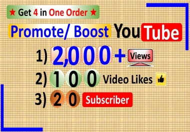 Promote 2000 Views+100 Likes+20 Subscriber in YouTube Video / Channel to Real Visitors and Permanent by Share & Submit to Top Rank Social Networkers