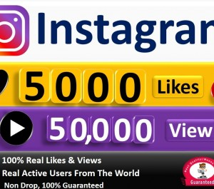 give Instant 5000 instagram HQ Likes & 50,000 Video Views, active users non-drop Guarantee