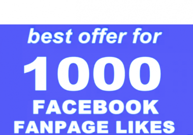 Provide you 1,000 Facebook Fan Page likes