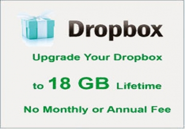 upgrade your Dropbox Account with 18GB lifetime space