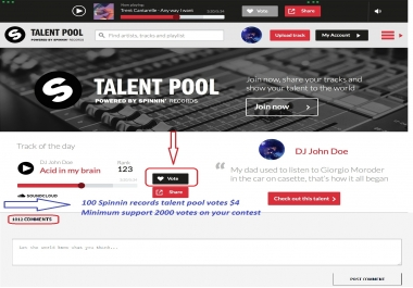 Give you 150+ votes on Spinnin' Records Talent Pool from real people around the world