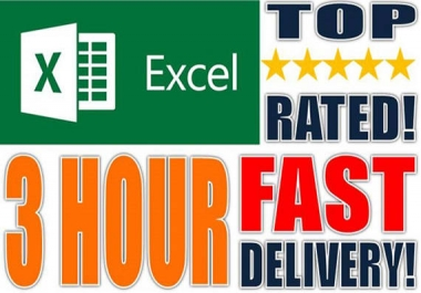 Complete any type of Data Entry work, 3 hours