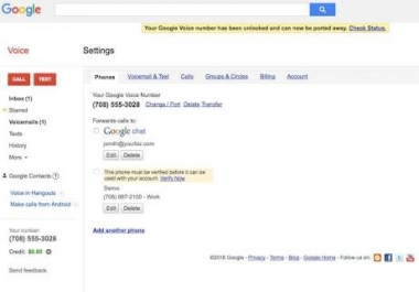 Sell google voice account
