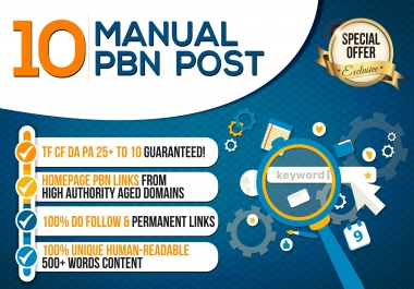 give 10 Manual Pbn Post Dofollow Backlinks High Quality