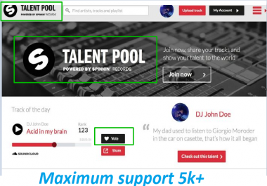 Give you 100 Spinnin records talent pool vots on your contest