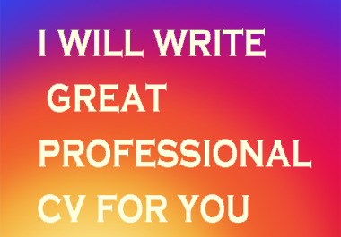 provide you great a professional cv just