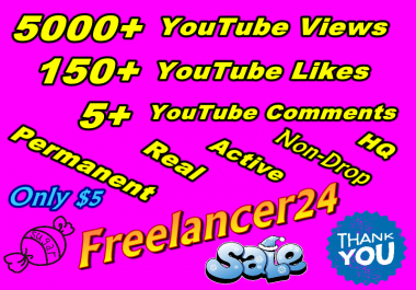 Add 1000+ YouTube Views non-drop with 50+ YT Likes and 5+ YT Comments 24-48 hours completed