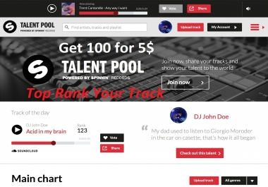 Promote 100 Spinnin Records Track Rank Talent Pool Top Chart