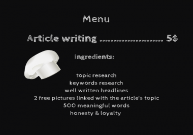 write a nice article for your business / personal blog