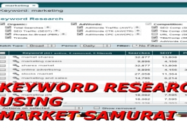 do keyword research on Any Niche using Mrket Samurai