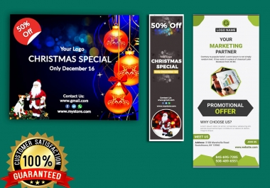 3 sizes web banners or banner ads, social cover