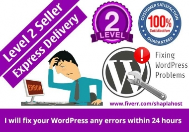 Fix Wordpress Website Issues Or Errors In 12h And Customize Theme Too