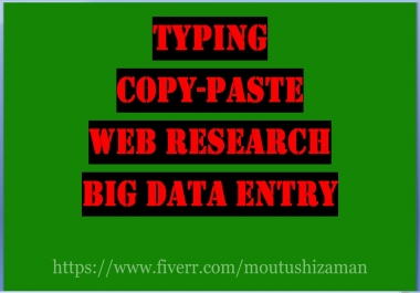 Data Entry, Copy Paste, And Typing