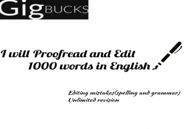 proofread and edit 1000 words in English