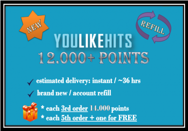provide 12,000 Youlikehits Points (New Account or Refill)
