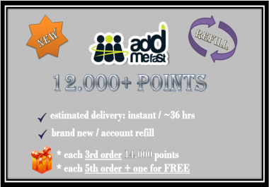 provide 12,000 AddMeFast Points (New Account or Refill)