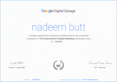 Google and facebook certifications on your behalf