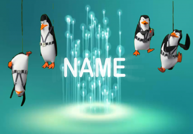 do amazing   video that  dance  text name   with Penguin