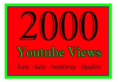 provide you 2000+ youtube HQ real human views