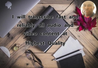transcribe fast, with high quality all audios and videos