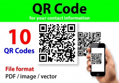 Create 10 QR Codes Containing your complete contact information.