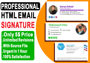 make professional clickable HTML email signature in 1 hour urgent