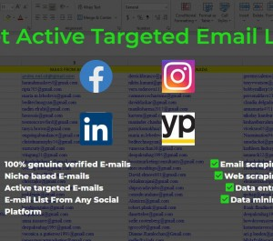 scrape active emails, email scraping, web scraping, data mining and data entry