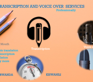 record the best male, female kinyarwanda and kiswahili voice over and transcriber