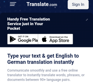 translate from English to German and Vice Versa