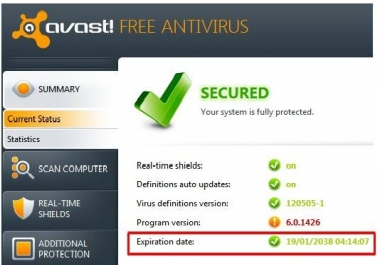 give you avast license key that'll work till 2038