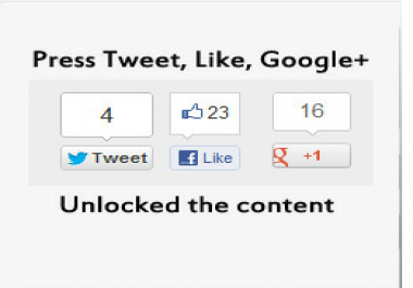 give you Viral Wordpress Locker G+,Tweet, or Like to unlock