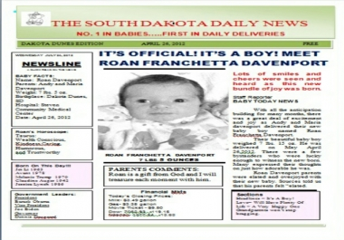 make your Baby 3 Personalized Birth Announcement Newspapers