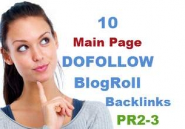 give you for a month 10 main page dofollow backlinks from 10 websites with pr2 to pr3 low obl