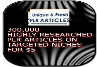 give highly researched  keyword 300,000 PLR articles