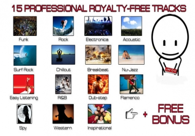 send you 15 professionally mix and mastered Royalty free tracks
