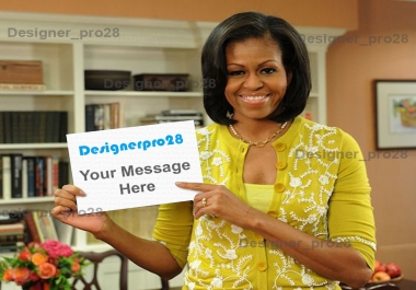 place professionally your messages, names, greetings on Michel Obama's hand