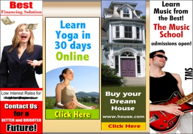 give you 3 KILLER Animated or Static banners or headers or rotating banners of any size just