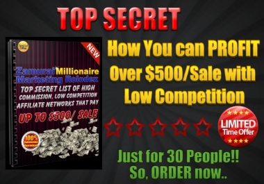 Tell How You can Profit Over 500DOLLAR per Sale With Low Competition