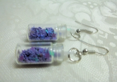 Make a Pair of Tiny Glass Bottle Sparkle Earrings