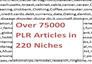 provide over 75000 PLR articles in 220 niches