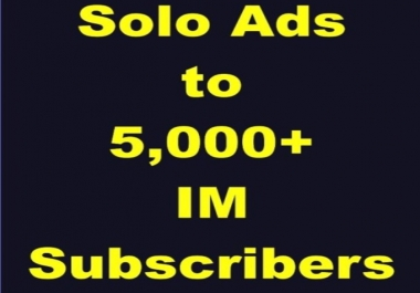 Send SOLo Ads to my RESPONSiVE 50000 optin Subscribers in IM Niche