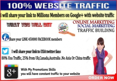 promote your link to Millions of Google plus members with website traffic