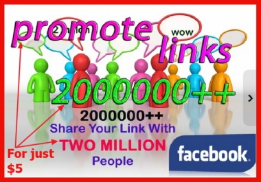 promote Your Product Or Service link To Over 200,000 Facebook Users