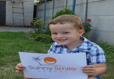 make an advertising photo with your sign and my kid
