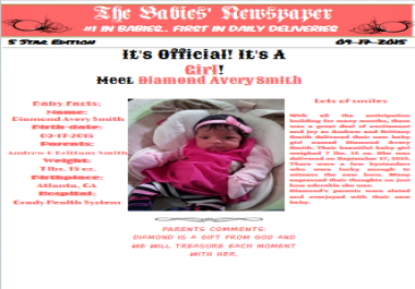 make a personalized Birth Announcement Newspaper