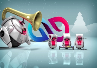 give 3D Robots Christmas Special Logo Reveal Greetings Video