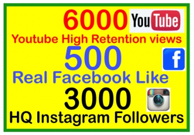 Give 6000+ High Retention Splitable YouTube Views OR 500 Real Facebook Like OR 3000 Instagram Followers