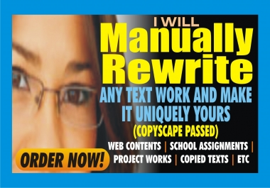 Manually REWRITE your Article up to 500 Words