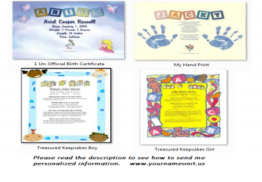 Personalize a Keepsakes for Newborns,Birth Certificate or a Personalized My Hand print Keepsake